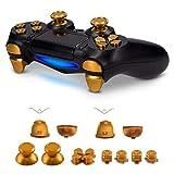 kwmobile Boutons de Rechange Compatible avec manette Playstation manette 4 (1ère gén.) - Set Touches Joystick Flèches en Aluminium - doré