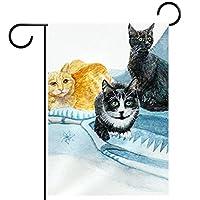 庭の旗芝生の装飾庭の装飾屋外の農家の装飾ホオジロ旗猫11. 両面バナー