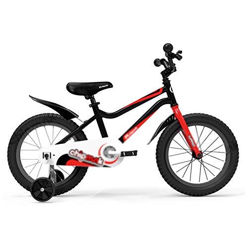 Kids Bikes Chunlan Bicicleta Niño/Niña Al Aire Libre para Niños Estructura De Acero Al Carbono Ruedas De Entrenamiento Y Campanas Freno De Seguridad 12/14/16 Pulgadas(Color:Negro,Size:14 Inches)