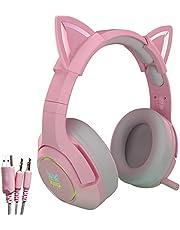 Różowy zestaw słuchawkowy do gier z chowanym mikrofonem, słuchawki nauszne kota ze światłem LED, słuchawki stereo 7.1 Stereo Surround Sound Gaming, na PS5, PS4, przełącznik (adapter nie jest dołączony), słuchawki ponad uszami dla dziewcząt kobiet