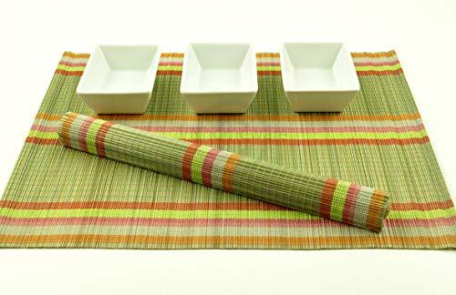 P013 Lot de 6 sets de table en bambou fabriqués à la main en bois respectueux de l'environnement Vert sauge