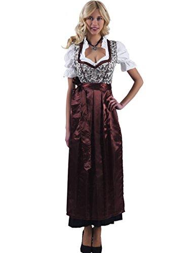 Alpenmärchen 3tlg. Dirndl-Set - Trachtenkleid, Bluse, Schürze, Gr. 40, braun - ALM746