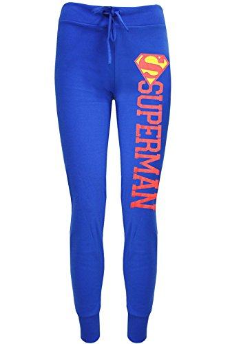 Damen Comic Superman Batman-Logo Trainingshose Jogging Hose Hose Übergröße - Superman Blau, 44-46