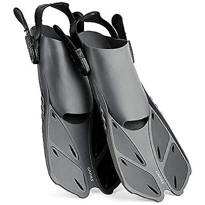 CAPAS Snorkel Fins, Swim Fins Travel Size Short Adjustable for Snorkeling Diving Adult Men Womens Kids Open Heel Swimming Flippers