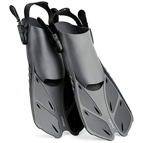 CAPAS Snorkel Fins, Swim Fins Travel Size Short Adjustable for Snorkeling Diving Adult Men Women Kids Open Heel Swimming Flippers