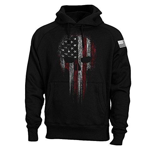 USA American Flag Skull Military Patriotic Men's Sweatshirt Hoodie (Black, XL)