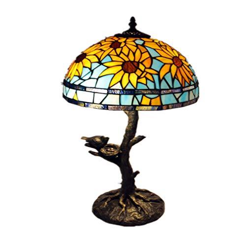 Tafellamp, barok, antieke look, bureaulamp, Tiffany-stijl, lampenkap van getint glas, voor woonkamer, slaapkamer, bedlampje antiek