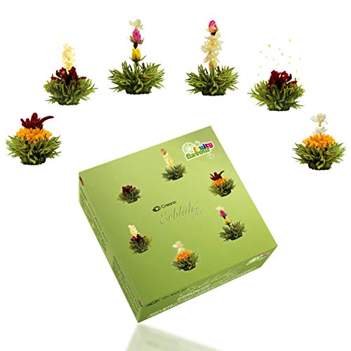 Creano Teeblumen Mix – Erblühtee Fruity Flavor zum Probieren - grüner Tee fruchtig aromatisiert (6 verschiedene Sorten Teerosen) Blooming Tea Tee Geschenk Muttertag