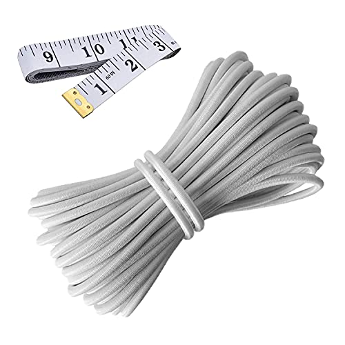 HEMYLU Elastic Cord 1/8 Inch (3MM) x 33FT, White Elastic String Bungee Shock Cord with Nylon Sleeve and Heavy Strength for Crafting DIY Sewing