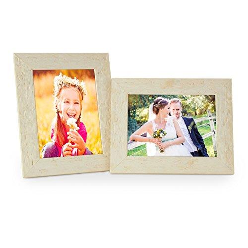 Set van 2 fotolijsten 15x20 cm rustiek strandhuis wit massief hout met glazen ruit inclusief accessoires | Fotolijst