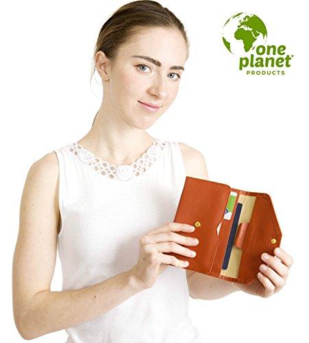 One Planet - Custodia per passaporto RFID, multifunzione, per carte di credito e di debito, ideale per un viaggio sicuro, compatta, con 2 etichette per valigia