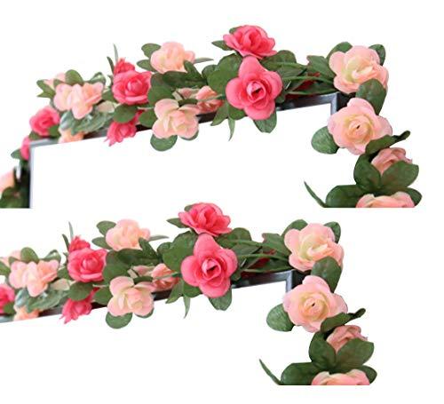 LumenTY - 2 guirnaldas con flores artificiales para decorar en casa, bodas, jardines, cumpleaños, festival, color morado claro y oscuro., Rosa, rosa