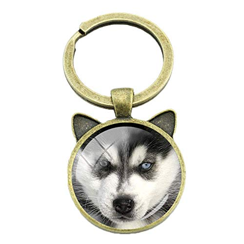 THj Keychains Midsize Sled Dog Siberian Husky Keychain Lovely Puppy Glass Key Chain Ring Holder Fashion Christmas Giftt Jewelry Cn775