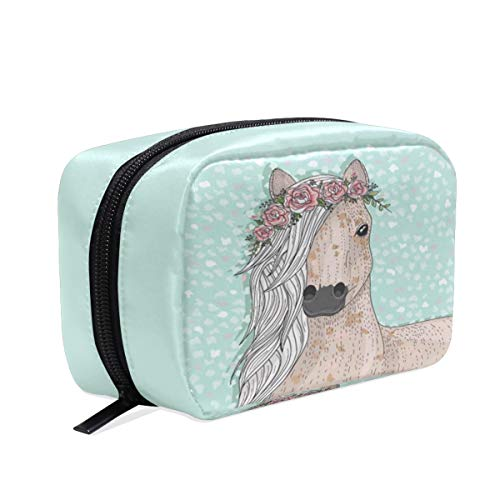 Cute Fairytale Horse Makeup Cosmetic Bags School Pencil Cases Animal Heart Flower Travel Pouch waterproof Toiletry Bag Organizer Storage Handbag with Zipper for Women Girls