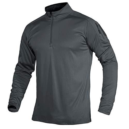 MAGCOMSEN Langarmshirt Herren Tactical Shirt Outdoor Running Sportshirt Slim Fit Trainingsshirt Herren Arbeitsshirt Atmungsaktiv Combat Oberteil Freizeithemd mit Zip-Tasche Grau 2XL