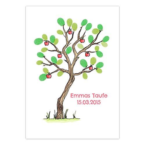 Papierdrachen Fingerabdruck Gästebuch für Deine Hochzeit, Taufe oder Kommunion - DIN A3 Apfelbaum bunt - personalisiert mit Namen und Datum - inklusive Stempelkissen