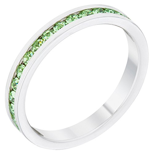 Kate Bissett Stylish Birthstone Stackables Swarovski Crystal Peridot -August Size 8