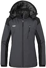 Wantdo Women's Waterproof Skiing Jacket Winter Warm Snow Coat with Detachable Hood Dark Grey L