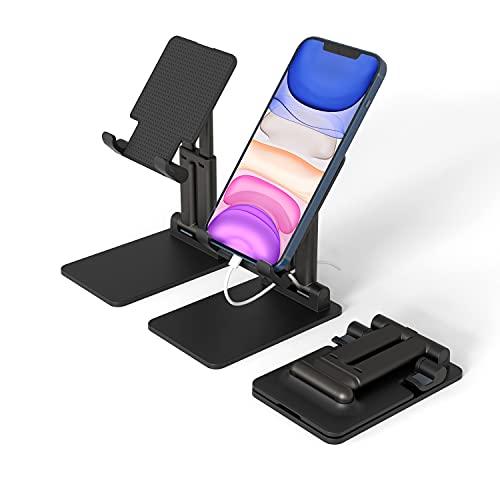 """KLAS REMO Soporte Móvil Mesa, Soporte Teléfono Plegable y Portátil con Base de Metal Compatible con iPhone 12/11 / XS MAX , Xiaomi,Otros Smartphones, Tablets 4-12"""" Negro"""