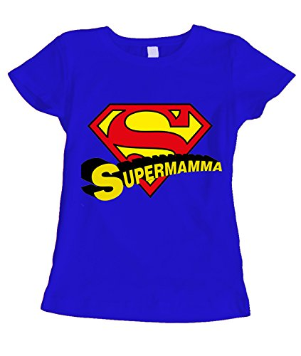 fashwork Tshirt Festa della Mamma SuperMamma- Humor - Happy Mother's Day - Idea Regalo - in Cotone