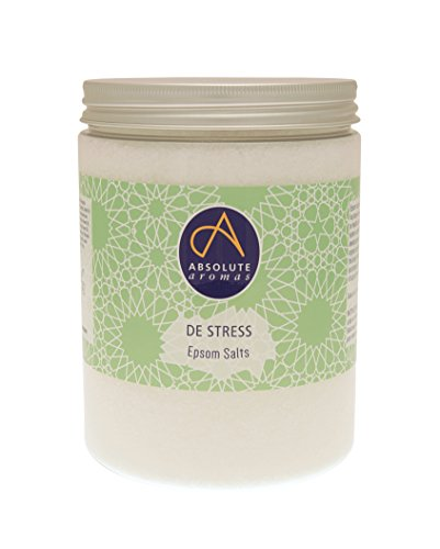 Absolute Aromas De-Stress Epsom Bath Salts 1150g - Magnesium Sulphate Infused with 100% Pure Blend of Bergamot, Chamomile, Frankincense, Jasmine and Sandalwood Essential Oils