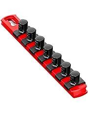 Ernst Manufacturing - 8412-Red-1/2 8-Inch Socket Organizer with 7 1/2-Inch Twist Lock Clips, Red