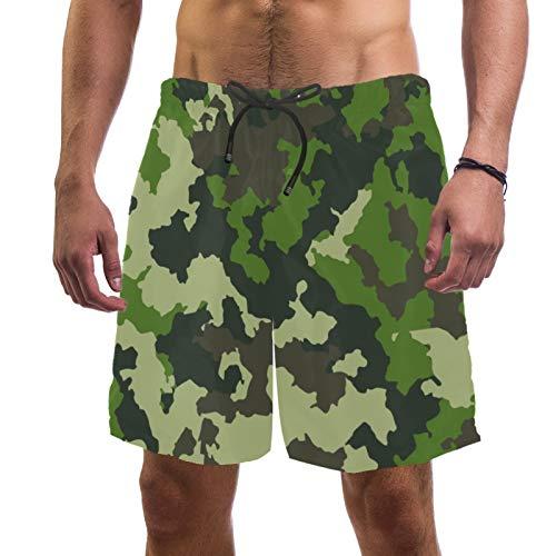 Pantalones cortos de playa de surf para hombre, de secado rápido, con bolsillo y fondo de camuflaje ejército