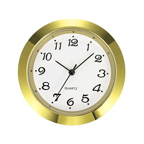 Mudder 1-7/16 Inch (36 mm) Clock Insert Fit Diameter 1-3/8 Inch (35 mm) Hole, Arabic Numerals (Gold Bezel)