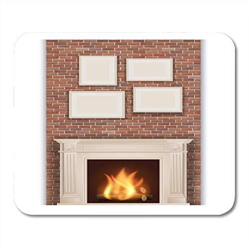 Mauspads Komfort Weihnachten Klassischer Kamin auf Backsteinmauer Herd Feuer Mauspad für Notebooks, Desktop-Computer Matten Büromaterial
