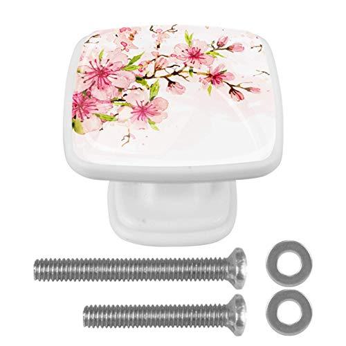[4 unidades] pomos de aparador, coloridos tiradores decorativos para decoración del hogar, pomos para decoración del hogar, diseño floral de cerezo