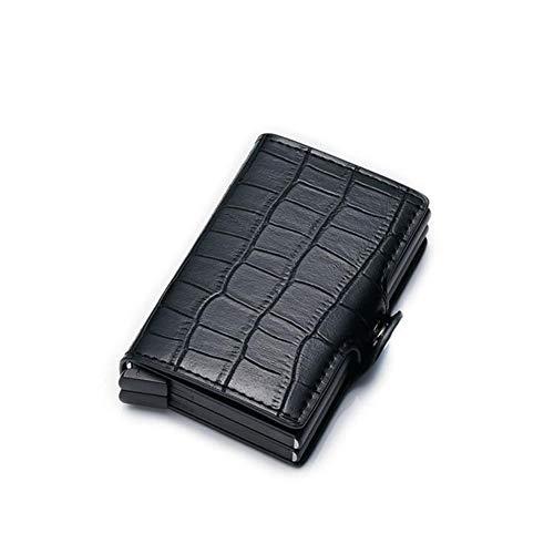 FSYX Paquete de la Tarjeta Portatarjetas de crédito Cartera Antideslizante Portatarjetas Push-Pull Portatarjetas de crédito deslizable con una ManoNegro