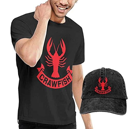 Camiseta de Manga Corta para Hombre Crawfish, Camisetas Sueltas y Etiqueta de Sombrero de Vaquero para Adultos