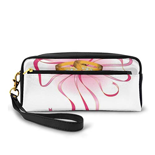 Pencil Case Pen Bag Pouch Stationary,A Pair Of Wedding Rings On Silky Bow Tie Figure,Small Makeup Bag Coin Purse