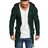 Cardigan da Uomo - Uomo Shawl Collar Cardigan Leggero Cotton Blend Long Length Drape Cape Hooded Cardigans Outwear(Verde,L)