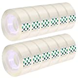 MJUNM 12 Rolls Transparent Tape Refills Rolls 3/4-Inch x 1000 inch, 1 inch Core, Clear Gift Wrapping Tape Refill Roll for Office, Home, School