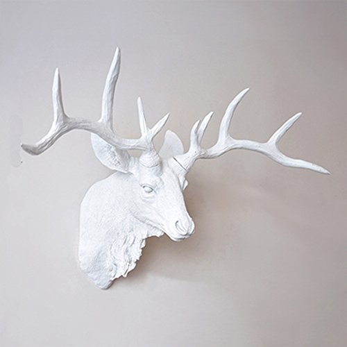 Faux Deer Head Wall Mount Resin Living Room Bedroom Pendant Animal Taxidermy Sculpture,White