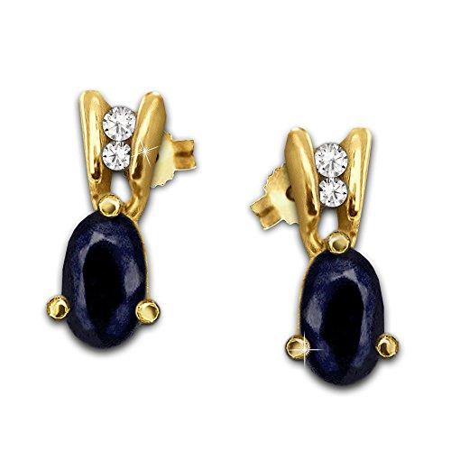 Clever joyas dorado elegante Pendientes pequeños con forma ovalada de zafiro facetado y 2circonitas adornado brillante 333Oro 8quilates en estuche