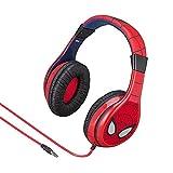 eKids Spiderman - Auriculares para niños (Control de Volumen, diseño Cara de Spiderman) Color Rojo y Azul