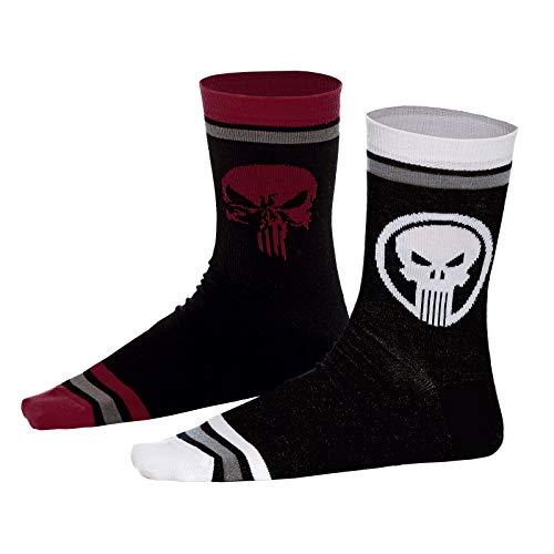Punisher Elbenwald Marvel Socken-Set Skull Motiv Verschiedene Designs 2er Set Unisex - 39-42