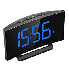 BLUE LED DISPLAY WITH 6 DIMMER: With special curved LED screen, time is clear to see from multi-angle across bedroom living room kitchen. You can choose 5-level brightness or completely OFF when sleeping. 3 ALARM SOUNDS WITH ADJUSTABLE VOLUME: You ca...