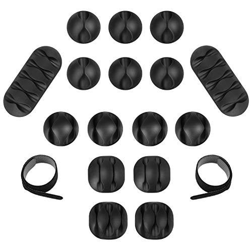 Clips de Cable, 16 pcs Organizador de Cable Duraderos, 10 Bridas para Cables Reutilizables, Con Corbata, Para Cable de alimentación, Cable de Carga USB, Cargador, Cable de Audio, Black(26 Piezas)