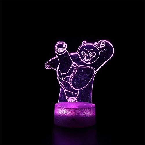 Lámpara de ilusión 3D 3D 3D Kungfu Panda A 16 colores regulable USB Powered Control táctil con mando a distancia, regalos creativos para niños de 10 años
