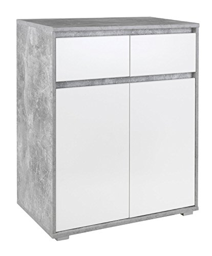 Highboard Kommode Mehrzweckschrank | Dekor | Weiß | Betonoptik | 2 Türen | 2 Schubladen