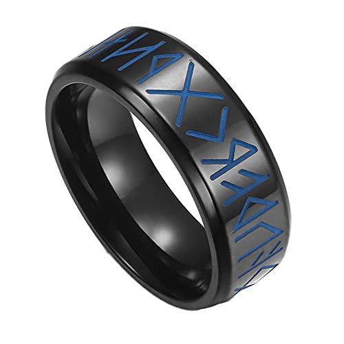 Nordic Runic Elder Futhark Viking Ring, Hombres de Acero Inoxidable Punk Gothic Style Luminous Glow Rings, Edad Media Celtic Pagan Amulet Wedding Band Anillos de Pulgar ( Color : Black , Size : 09 )