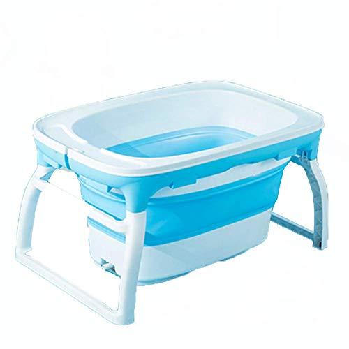 Bañera Plegable para bebé-Lavabo de Ducha de Gran tamaño portátil Antideslizante/Puede Sentarse y mentir/Aislamiento Espesar el Cubo del baño,Blue