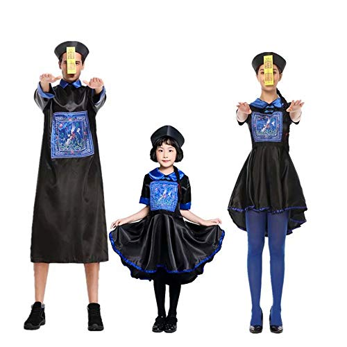 Amatop Disfraz de Zombie Dinastía Qing Disfraz de Padre-Hijo de Zombie Halloween Vampire Horror Disfraz de Cosplay Disfraz de Halloween Cosplay niños Adultos Disfraz de Zombie