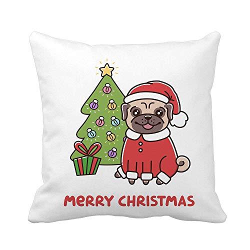 Throw Pillow Cover Cute Dog Raza Pug en Traje de Santa Claus Funda de Almohada de Navidad Funda de Almohada Cuadrada Decorativa para el hogar Funda de cojín