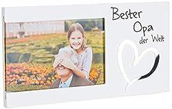 Brandsseller Bilderrahmen Fotorahmen - Bester Opa der Welt - mit Spiegelherz 25x13x1,5 cm Matt-Weiß