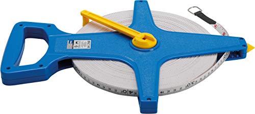 Kraftmann 2160 | Rollbandmaß | 100 m | Breite 12 mm | Fiberglas | beideitsig markiert, Zoll- und Meter-Skala | Maßband, Bandmaß