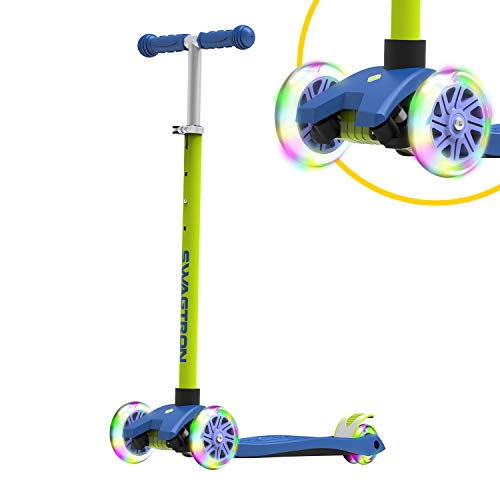 Swagtron K5 3-Wheel Kids Scooter with Light-Up Wheels | Quick Assembly | ASTM-Certified | Height-Adjustable for Boys or Girls Ages 3+ (Blue)